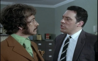 Peter Wyngarde as Jason King and Michael Griffiths as Supt. Collins