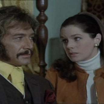 Peter Wyngarde as Jason King and Rosemary Nicols as Annabelle Hurst