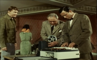 Bernard Lee and John Carson in The Baron